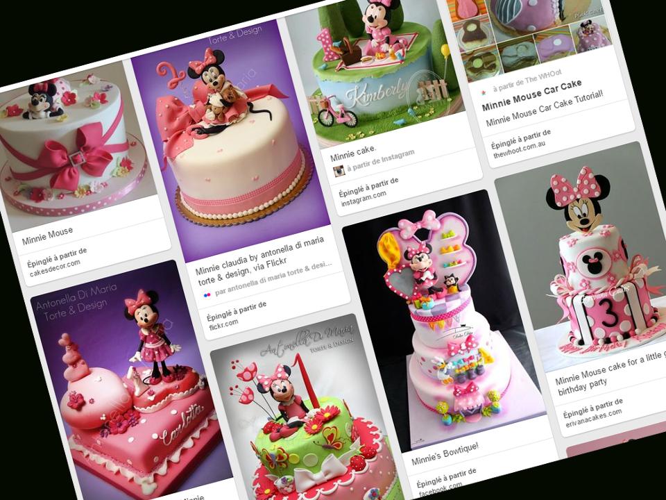 gâteau d'anniversaire sur le thème Minnie Mouse