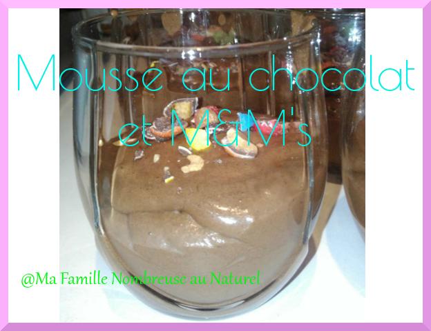 recette Mousse au chocolat et M&M's