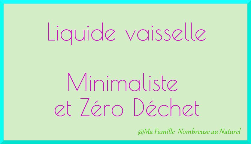 liquide vaisselle zéro déchet / minimalisme