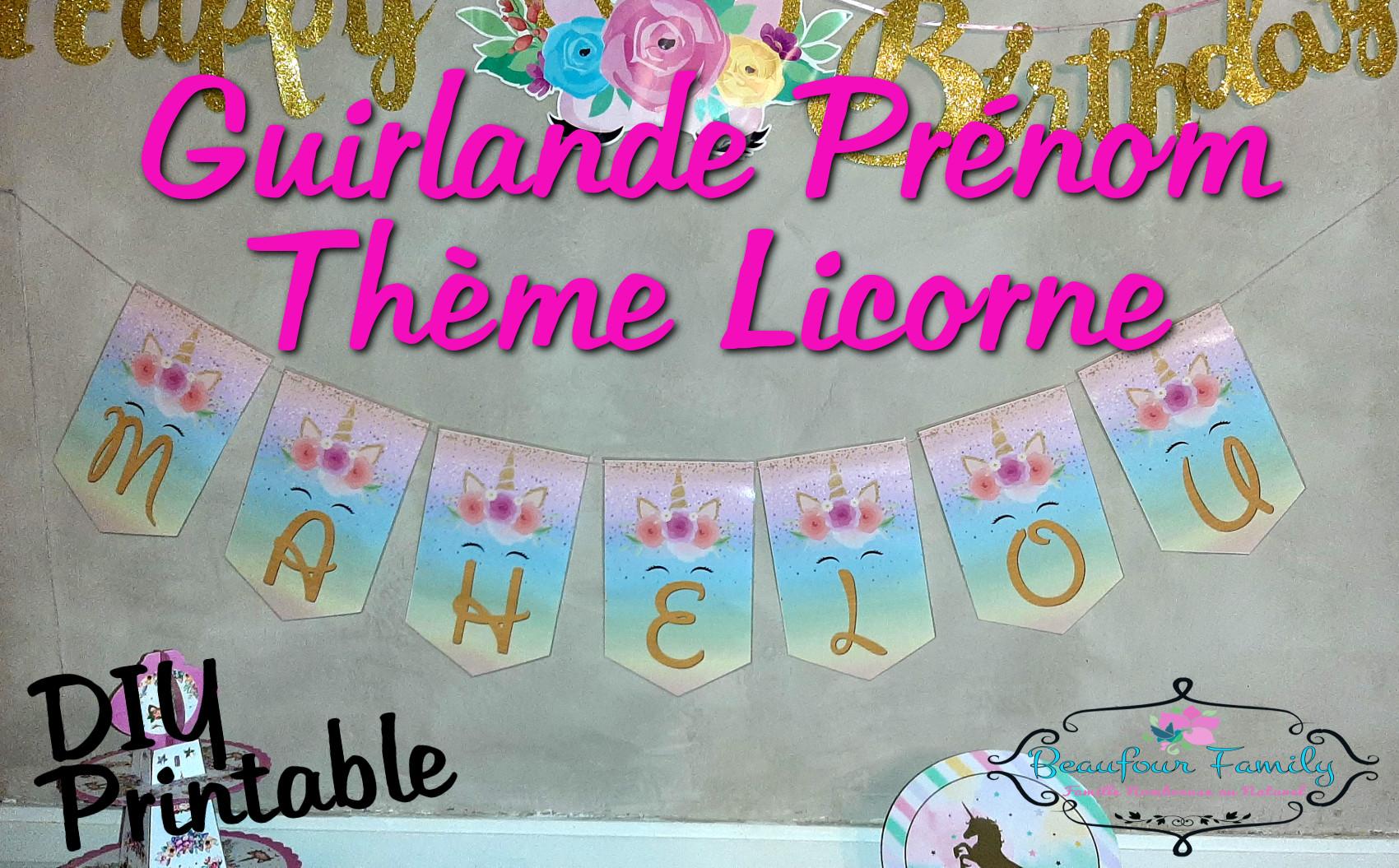 guirlande prénom licorne bannière diy à imprimer / printable